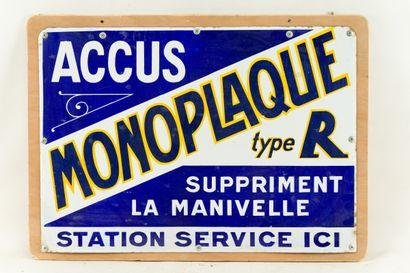MONOPLAQUE Accus, Station-Service.  Émaillerie...
