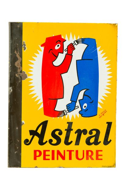ASTRAL Émail.  Signée d'après SAVIGNAC, 1950....