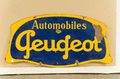 PEUGEOT Automobiles  Sans mention d'émaillerie, vers 1930.  Plaque émaillée plate...