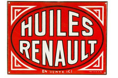 RENAULT HUILES.  Mention Pub SHR daté 1932....