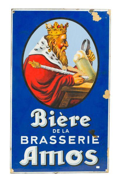 AMOS Bière de la brasserie.  Émaillerie Alsacienne...