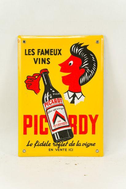 PICARDY Les fameux vins.  Sans mention d'émaillerie, vers 1960.  Plaque émaillée...