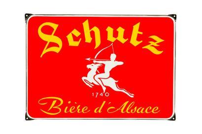 SCHUTZ Bière d'Alsace.  Émaillerie Alsacienne...