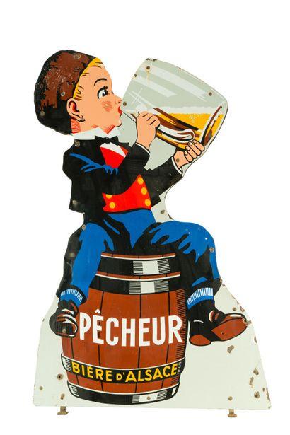 PÊCHEUR Bière d'Alsace.  Émaillerie Alsacienne...
