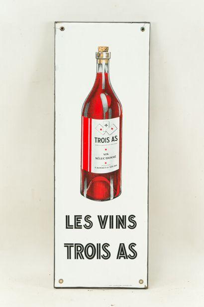 TROIS AS LES VINS.  Émaillerie Alsacienne Strasbourg, vers 1935.  Plaque émaillée...