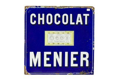 MENIER Chocolat.  Émaillerie Japy, vers 1910....