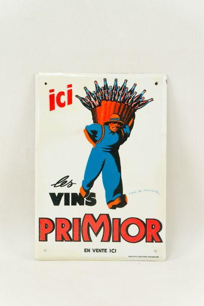 PRIMIOR Les vins.  Signée d'après F. MAURUS, 1950.  Émaillerie Alsacienne Strasbourg,...