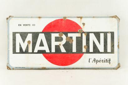 """MARTINI L'apéritif.  Mention """" Publi régie Amiens """", vers 1960.  Plaque émaillée..."""
