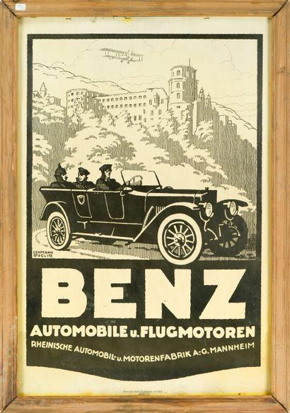 BENZ Automobile u. Flugmotoren.  Signée Lehmann...