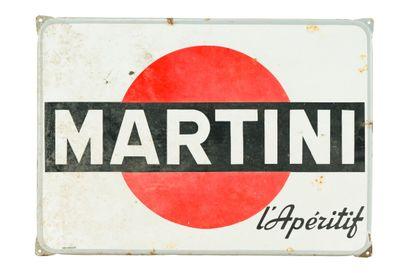 MARTINI L'apéritif.  Vox publicité, vers 1960.  Plaque émaillée rectangulaire plate...