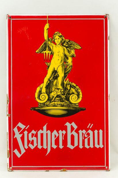 FISCHER BRÄU (Bière).  Émaillerie Alsacienne Strasbourg, vers 1935.  Plaque émaillée...