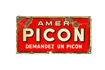 PICON Amer (Apéritif).  Sans mention d'émaillerie, vers 1945.  Plaque émaillée rectangulaire...