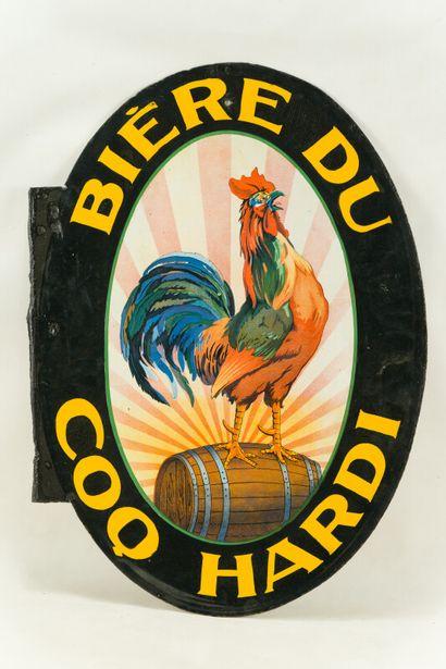 COQ HARDI BIÈRE DU.  L'Émaillo-gravure, Paris, vers 1925.  Plaque émaillée ovale...