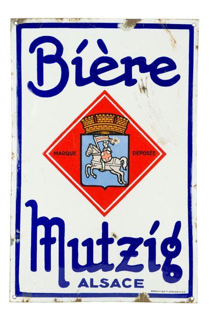 MUTZIG BIÈRE, Alsace.  Émaillerie Alsacienne...
