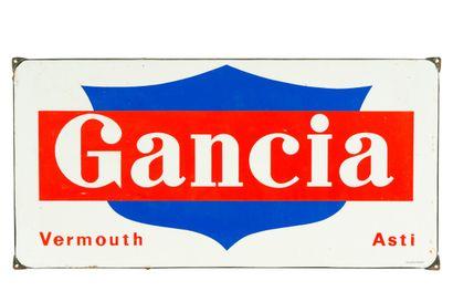 GANCIA, Vermouth.  Émaillerie Alsacienne Strasbourg, vers 1960.  Plaque émaillée...