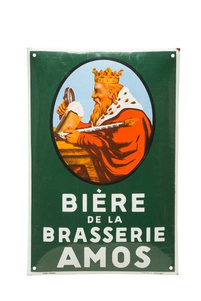 BRASSERIE AMOS Bière de la.  Pyro Émail, Allemagne, vers 1935.  Plaque émaillée...