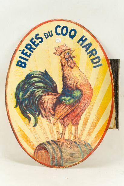 """COQ HARDI BIÉRE DU.  Mention """" Atelier de Noisy le sec """", vers 1935.  Plaque émaillée..."""