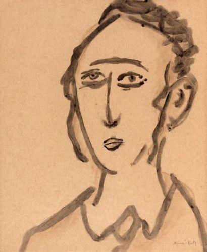 MANE KATZ (1894-1962) Jeune rabbin Encre brune ou de Chine sur papier chamois, signé...