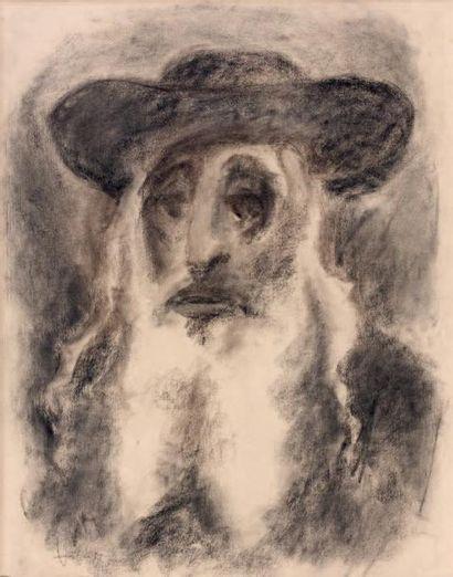 MANE KATZ (1894-1962) Vieux rabbin Fusain, signé en bas à gauche. 62 x 48 cm F.C...