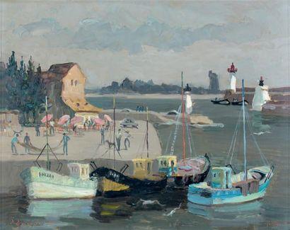 Pierre BOUDET (né en 1925) La sortie du port d'Honfleur Huile sur panneau, signée...