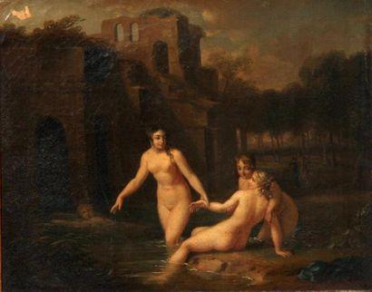Jacques VALLIN (c. 1760-c. 1831) Les baigneurs, 1803 Huile sur toile, signée en bas...