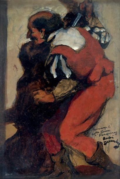 André DEVAMBEZ (1867-1943) L'assassin ou avant le meurtre Huile sur carton, signée...