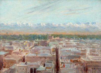 Les terrasses, Marrakech Huile sur panneau,...
