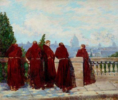 Moines contemplant Rome, depuis les jardins...
