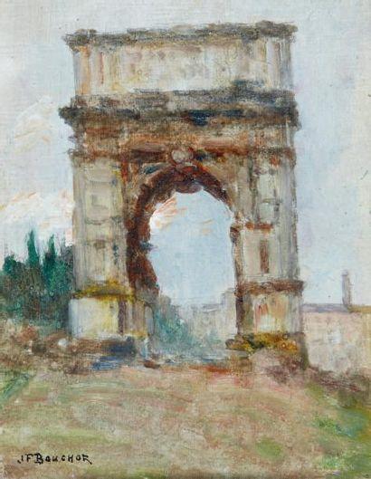 L'Arc de Titus, Rome Huile sur panneau, signée...