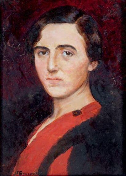 Femme au chemisier rouge et noir Huile sur...