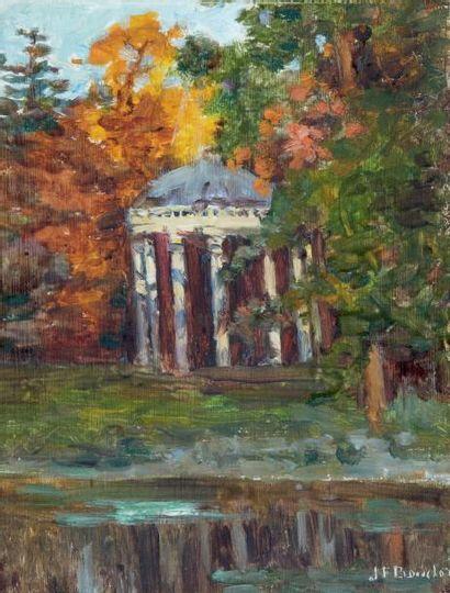 Le temple d'Amour, Versailles Huile sur panneau,...