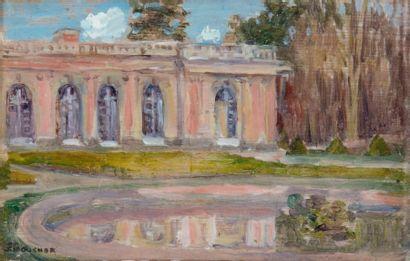 Le petit Trianon à Versailles Huile sur panneau,...