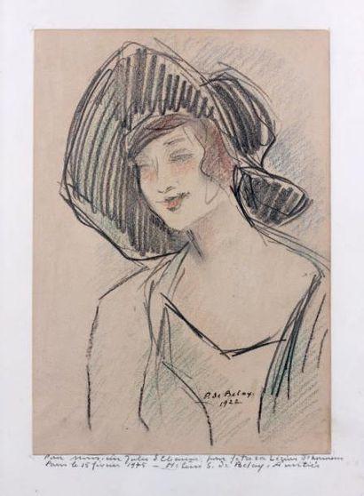 Pierre de BELAY (1890-1947) Femme au chapeau, 1922 Crayons de couleurs sur papier....