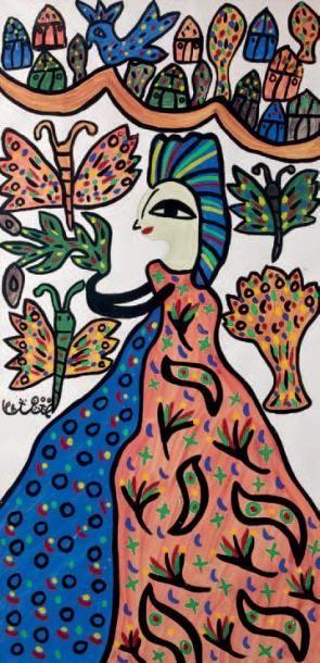 Femme et papillons Gouache signée au milieu...