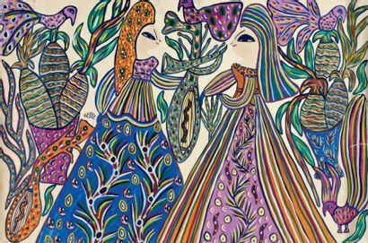 Deux femmes avec oiseau Gouache signée au...
