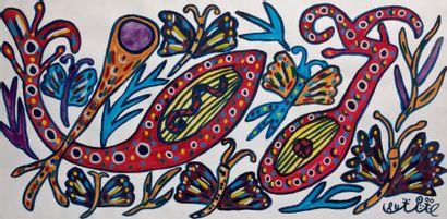 Papillons et mandorles Gouache signée en bas à droite. 48 x 98 cm S.C.H.