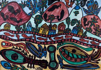 Rivière et animaux Gouache signée en bas...