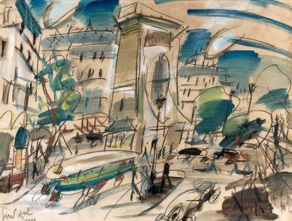 GEN PAUL (1895-1975) La porte Saint Denis, c.1930 Aquarelle et gouache sur crayon,...