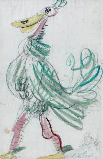 GEN PAUL (1895-1975) Projet de costume animal Gouache et aquarelle sur trait de crayon,...