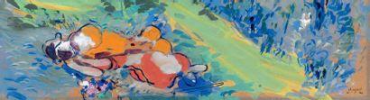 Marc CHAGALL (1887-1985) «La sieste» Gouache sur papier. Signée et datée «M Chagall...