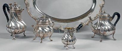 Service à thé en argent, modèle à côtes torses,...
