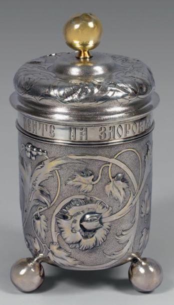 Timbale couverte en argent et vermeil, posant...