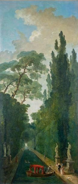Hubert Robert (Paris, 1733-1808) La contemplation d'un bas-relief antique dans une...