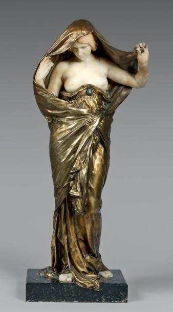 Louis BARRIAS (1841-1905) La Nature se dévoilant devant la Science Épreuve en bronze...