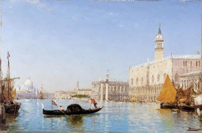 Félix ZIEM (1821-1911) Le grand canal et le palais des Doges Huile sur panneau signé...