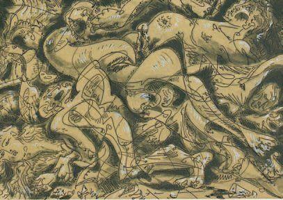 Le mort de Georges Bataille. 1964. Eau-forte...