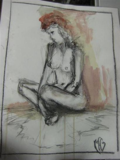 """RAFFIN """"Jeune femme"""" Oeuvre sur papier 40 x 32 cm"""
