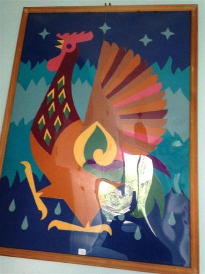 Deux sous verres - La femme et la chouette - Le coq Composition en feutre décou...