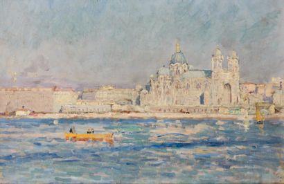 Adolphe Louis GAUSSEN Vue de Marseille Huile sur toile. 24 x 35 cm S.C.H.