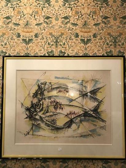 R. LERSY Nature morte au poisson Lithographie...